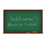 Welcome back to school on board illustration. Welcome back to school on a green board; School board illustration Royalty Free Stock Photos