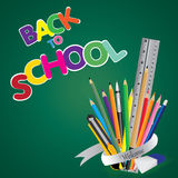 Welcome back to school. Board with object tool for school on a green background. Vector illustration. Stock Image