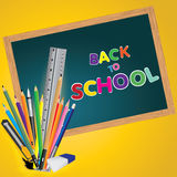 Welcome back to school. Board with object tool for school. Vector illustration. Royalty Free Stock Image