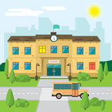 Welcome back to school. Building in park on the background Royalty Free Stock Images