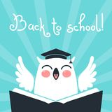 Welcome back to school. Card with an owl. Stock Photo