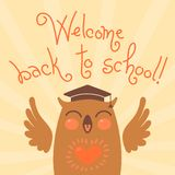 Welcome back to school. Card with an owl. Royalty Free Stock Photos