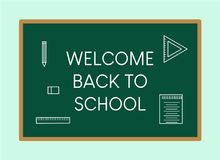 Welcome chalk board in flat style. Welcome back to school chalk board banner in flat style with school element Stock Photo