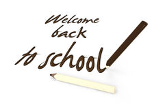 Welcome back to school by chocolate pencils on white background Royalty Free Stock Photos