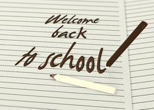 Welcome back to school by chocolate pencils Royalty Free Stock Photography