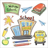Welcome Back to School Classroom Supplies Notebook Doodles Stock Images