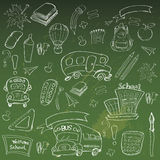 Welcome Back to School Classroom Supplies Notebook Doodles. Hand-Drawn Illustration Design Elements, Freehand drawing, Vector. blackboard background Royalty Free Stock Photos
