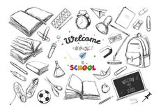 Welcome back to school collection. Vector hand drawn elements. School supplies. Books, notebook, copybook, backpack, lamp, alarm c Stock Image