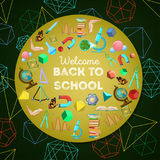 Welcome back to school colorful background. With circle of school elements and text on dark green with geometrical shapes background. Cartoon vector Stock Photography