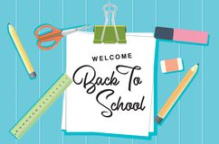 Welcome Back to School Concept Background Vector Flat Design royalty free illustration