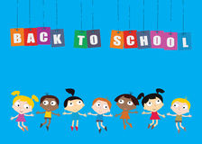 Welcome Back to school concept with childrens, chalkboard and Co Stock Photos