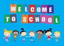 Welcome Back to school concept with childrens, chalkboard and Co Royalty Free Stock Photography