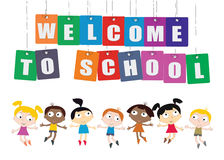 Welcome Back to school concept with childrens, chalkboard and Co Royalty Free Stock Image