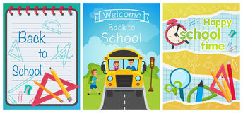 Welcome back to school concept template. School equipment, bus on the road and notebook. Vector collection of cartoon Royalty Free Stock Images