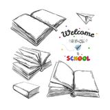 Welcome back to school concept, Vector hand drawn illustration. Chalkboard lettering. Typography. Sketch style Stock Image