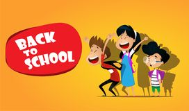 Welcome back to school.Cute school kids. Welcome back to school. Cute cartoon vector school kids stock illustration