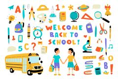 Welcome back to school, cute doodle colorful set with lettering. Hand drawn vector illustration, isolated on white stock image