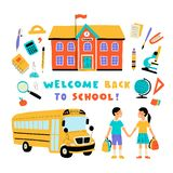 Welcome back to school, cute doodle colorful set with lettering. Hand drawn vector illustration, isolated on white stock photos