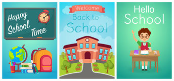 Welcome back to school. Cute school kids templates and baners. Boy pupil on the desk, study equipment and school Stock Photography