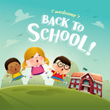 Welcome back to school! Cute school kids. Stock Photos