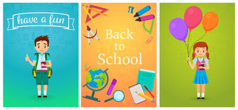 Welcome back to school. Cute school pupils kids templates and baners. Pupil Boy with backpack and girl with ballons Stock Photos