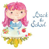 Welcome back to school, Cute watercolor school kids Royalty Free Stock Photography