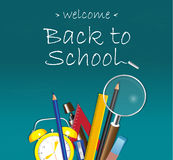 Welcome back to School design on blue background with school supplies Stock Images