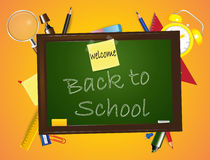 Welcome back to School design on orange background with school supplies Royalty Free Stock Photos