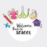 Welcome back to school doodle clip art Royalty Free Stock Images