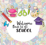 Welcome back to school doodle clip art Stock Image