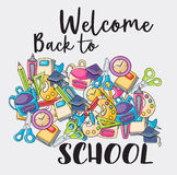 Welcome back to school doodle clip art Royalty Free Stock Image