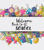 Welcome back to school doodle clip art Stock Photography