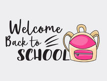 Welcome back to school doodle clip art greeting card. Royalty Free Stock Images