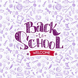 Welcome Back to School on doodles Stock Photo