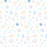Welcome back to school doodles seamless pattern. Hand drawn supplies icons. Vector illustration Royalty Free Stock Image