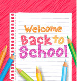 Welcome back to school drawing in colors. Welcome back to school drawign in a paper using different colors of colored pencils or crayons royalty free illustration