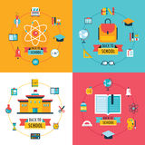 Welcome back to school Education banner set Flat Design Royalty Free Stock Image