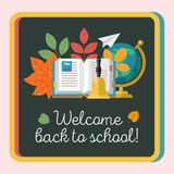 Welcome back to school. Education, school. Vector emblem, logo. Welcome back to school. Vector emblem, clipart on the theme of school and education. Colorful Stock Image