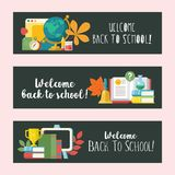 Welcome back to school. Education, school. Vector emblem, logo. Welcome back to school. Vector emblem, clipart on the theme of school and education. Colorful Stock Photos