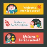 Welcome back to school. Education, school. Vector emblem, logo. Welcome back to school. Vector emblem, clipart on the theme of school and education. Colorful Stock Images