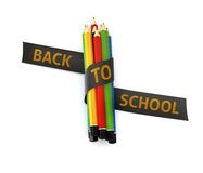 Welcome back to school embroidered golden thread on black ribbon Stock Photo