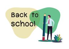 Welcome back to school. Flat cartoon illustration vector graphic design on white background. stock images