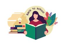 Welcome back to school. Flat cartoon illustration vector graphic design on white background. stock photography