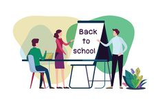 Welcome back to school. Flat cartoon illustration vector graphic design on white background. stock photos