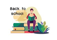 Welcome back to school. Flat cartoon illustration vector graphic design on white background. royalty free stock photography