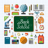 Welcome back to school flat concept background Royalty Free Stock Photo