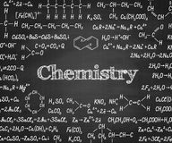 Welcome back to school with formula on blackboard. Welcome back to school with chemical formulas and figure on school blackboard on background. School chemistry Stock Photography