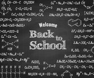 Welcome back to school with formula on blackboard. Welcome back to school with chemical formulas and figure on school blackboard on background. School chemistry Royalty Free Stock Photos