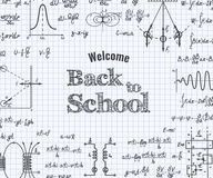 Welcome back to school with formula in notebook. Stock Image
