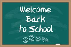 Welcome back to school. Green blackboard. Chalk drawn inscription. Vector illustration Vector Illustration